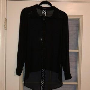 Long sleeve sheer blouse